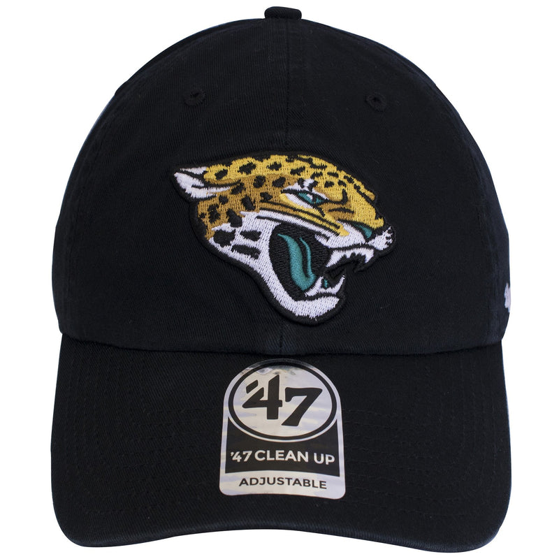 The Jacksonville Jaguars logo is embroidered on top of a basic black unstructured dad hat.