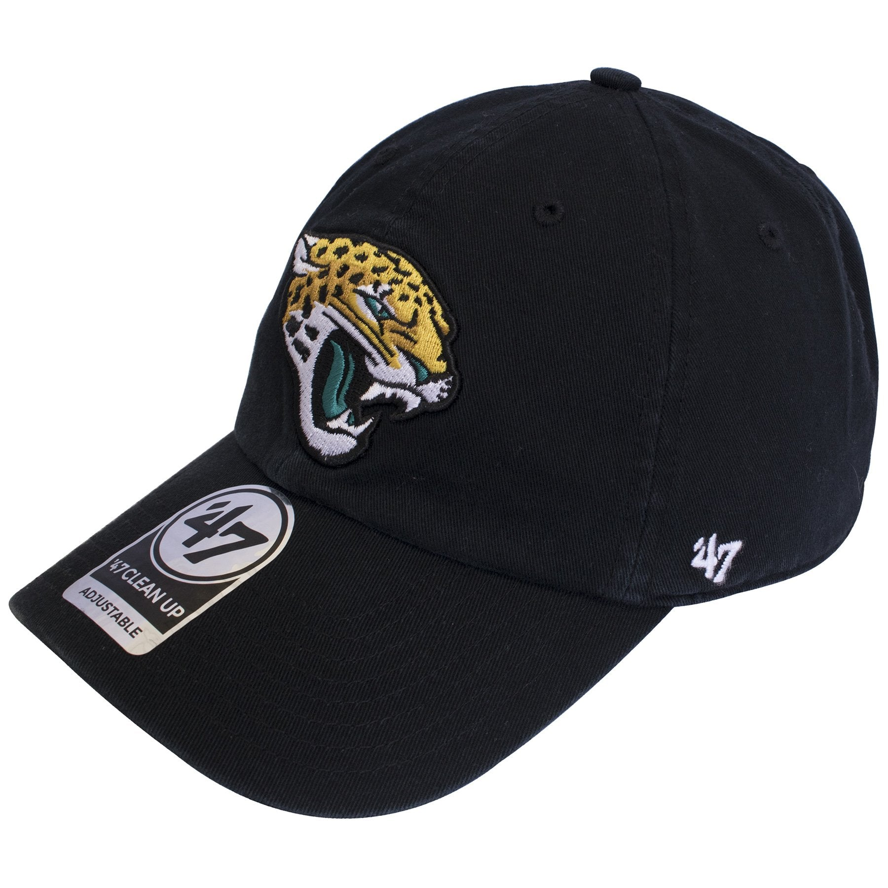 timeless design e8565 b700c The left side of this Jacksonville Jaguars Black cap is the 47 brand,  embroidered in · The backing of the Jacksonville Jaguars Clean Up Hat ...