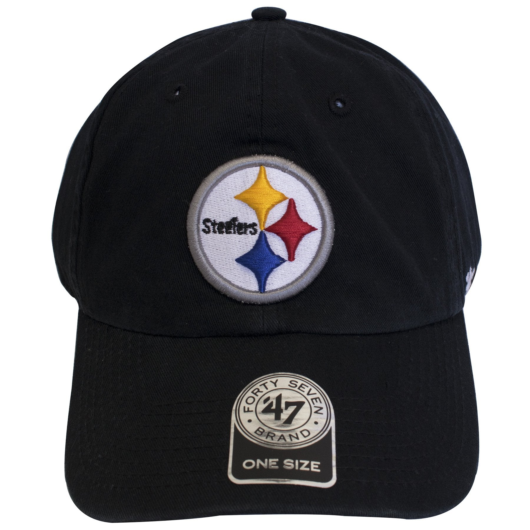 on the front of the Pittsburgh Steelers black adjustable dad hat is a  Pittsburgh Steelers logo b75e6564519c