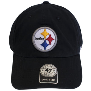 on the front of the Pittsburgh Steelers black adjustable dad hat is a Pittsburgh Steelers logo embroidered in white, black, gray, yellow, red, and blue