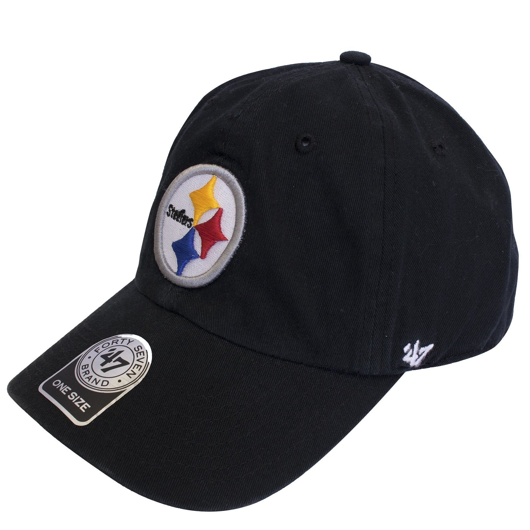 hot sale online 8ed02 40734 ... on the left side of the Pittsburgh Steelers black adjustable dad hat is  a  47 ...