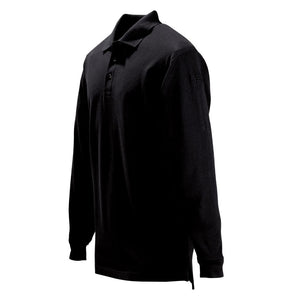 the Tactical Black Long Sleeve Polo Shirt | Law Enforcement Uniform Professional Pique Collared Shirt has a clever hidden pen pocket
