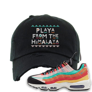 Air Max 95 Black History Month Sneaker Black Distressed Dad Hat | Hat to match Air Max 95 Black History Month Shoes | Playa From The Himalaya