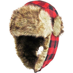 the interior of the red and black plaid lumberjack trapper hat has 100% polyester vegan fur