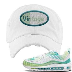 WMNS Air Max 98 Bubble Pack Sneaker White Distressed Dad Hat | Hat to match Nike WMNS Air Max 98 Bubble Pack Shoes | Vintage Oval