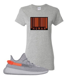 Yeezy Boost 350 V2 Tail Light Sneaker Gravel Women's T Shirt | Women's Tees to match Adidas Yeezy Boost 350 V2 Tail Light Shoes | Legit Barcode