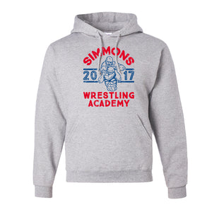 Simmons Wrestling Academy Pullover Hoodie | Ben Simmons Wrestling Academy Ash Pull Over Hoodie the front of this hoodie has the ben simmons wrestling design on it