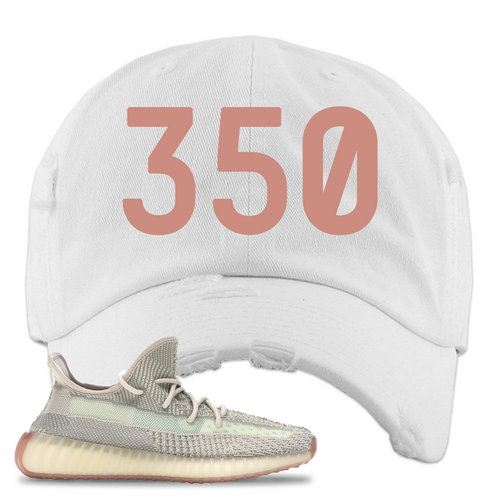 Yeezy Boost 350 V2 Citrin Non-Reflective 350 White Sneaker Matching Distressed Dad Hat