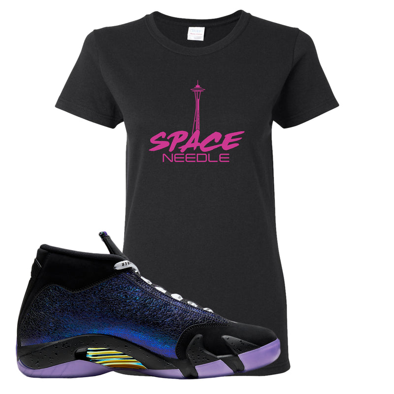 Jordan 14 Doernbecher Women's T Shirt | Black, Space Needle
