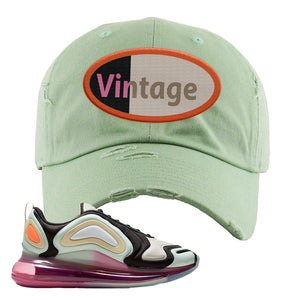 Air Max 720 WMNS Black Fossil Sneaker Sage Green Distressed Dad Hat | Hat to match Nike Air Max 720 WMNS Black Fossil Shoes | Vintage Oval