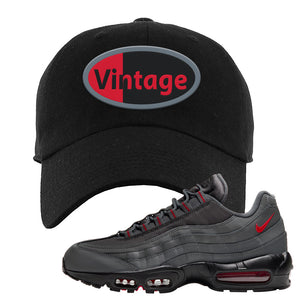 Air Max 95 Dark Gray and Red Dad Hat | Vintage Oval, Black