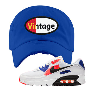 Air Max 90 Paint Streaks Distressed Dad Hat | Vintage Oval, Royal Blue