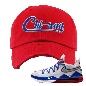 LeBron 17 Low Tune Squad Sneaker Red Distressed Dad Hat | Hat to match Nike LeBron 17 Low Tune Squad Shoes | Chiraq