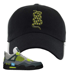 Jordan 4 Neon Sneaker Black Dad Hat | Hat to match Nike Air Jordan 4 Neon Shoes | Coiled Snake