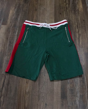 the Jordan Craig Green Striped Track Shorts | Retro Inspired Italian Colorway Shorts with Zipper Pockets have two deep pockets on the front and a tie waist