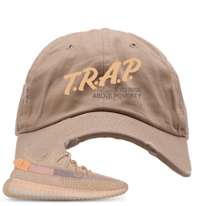 Yeezy Boost 350 Clay V2 Sneaker Hook Up Trap Rise Above Khaki Distressed Dad Hat