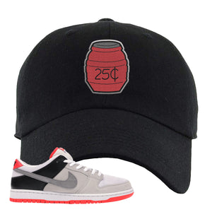 Nike SB Dunk Low Infrared Orange Label Quarter Water Black Dad Hat To Match Sneakers
