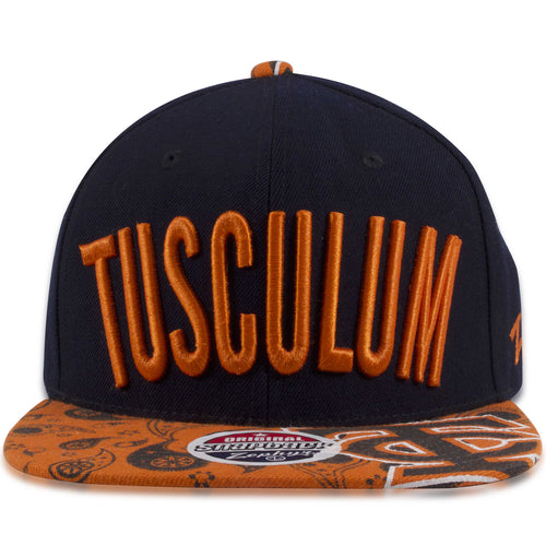 Tusculum Pioneers Navy Blue on Orange Zephyr Snapback Hat