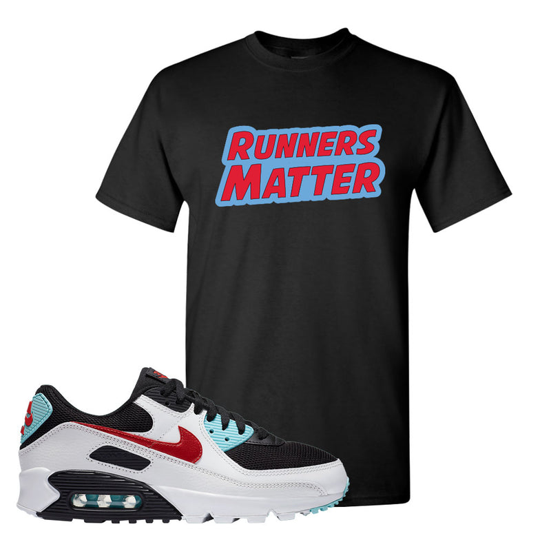 Air Max 90 Bleached Aqua and Chile Red T Shirt | Black, Runners Matter