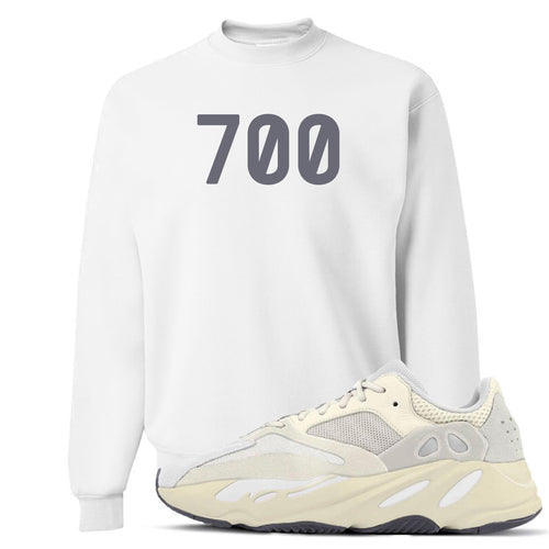 "Yeezy Boost 700 Analog Sneaker Match ""700"" White Crewneck Sweater"