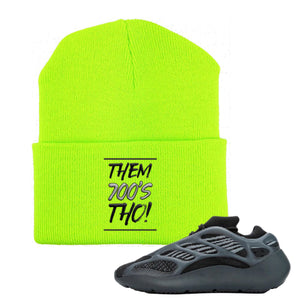 Yeezy Boost 700 V3 Alvah Sneaker Neon Green Beanie | Beanie to match Adidas Yeezy Boost 700 V3 Alvah Shoes | Them 700's Tho!