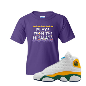 Playa From the Himalaya Purple Kid's T-Shirt to match Air Jordan 13 GS Playground Kids Sneaker