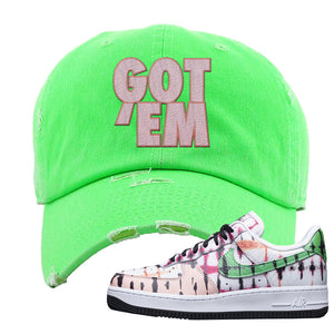 Air Force 1 Low Multi-Colored Tie-Dye Distressed Dad Hat | Neon Green, Got Em