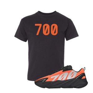 700 Black Kid's T-Shirt to match Yeezy Boost 700 MNVN Orange Sneaker