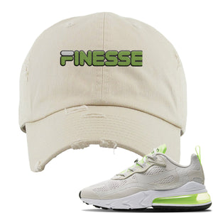 Air Max 270 React Ghost Green Sneaker Stone Ivory Distressed Dad Hat | Hat to match Nike Air Max 270 React Ghost Green Shoes | Finesse