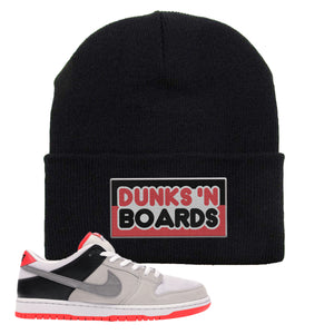 Nike SB Dunk Low Infrared Orange Label Dunks N Boards Black Beanie To Match Sneakers