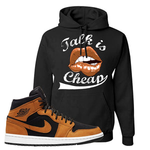 Air Jordan 1 Mid Wheat Hoodie | Talk Is Cheap, Black