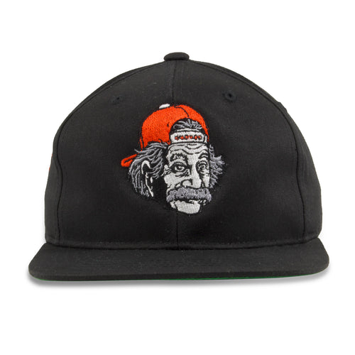 Embroidered on the front of the Swagstein Kid's Black Snapback Hat is the Albert Einstein logo embroidered in gray, red, white, and black