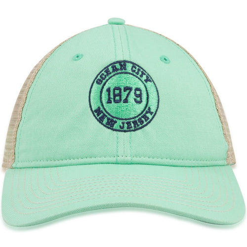 Ocean City New Jersey 1879 Mint Green / Khaki Mesh Trucker Hat