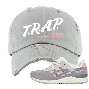 END x Asics Gel-Lyte III Grey And Pink Distressed Dad Hat | Trap To Rise Above Poverty, Light Gray