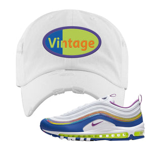 Air Max 97' 'Easter' Sneaker White Distressed Dad Hat | Dad Hat to match Nike Air Max 97' 'Easter' Shoes | Vintage Oval