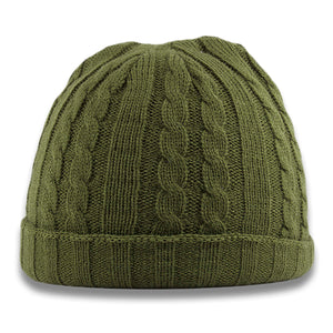 The olive cable knit beanie is olive green with a cable knit patter