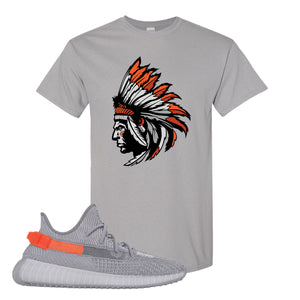 Yeezy Boost 350 V2 Tail Light Sneaker Gravel T Shirt | Tees to match Adidas Yeezy Boost 350 V2 Tail Light Shoes | Indian Chief
