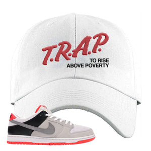 Nike SB Dunk Low Infrared Orange Label Trap To Rise Above Poverty White Dad Hat To Match Sneakers