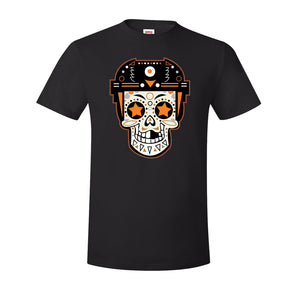 Broad Street Bullies Skull T-Shirt | Broad Street Bullies Candy Skull Black Tee Shirt the front of this shirt has the bullies skull logo