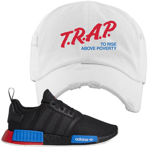 NMD R1 Black Red Boost Matching Distressed Dad Hat | Sneaker Distressed Dad Hat to match NMD R1s | Trap To Rise Above Poverty, White