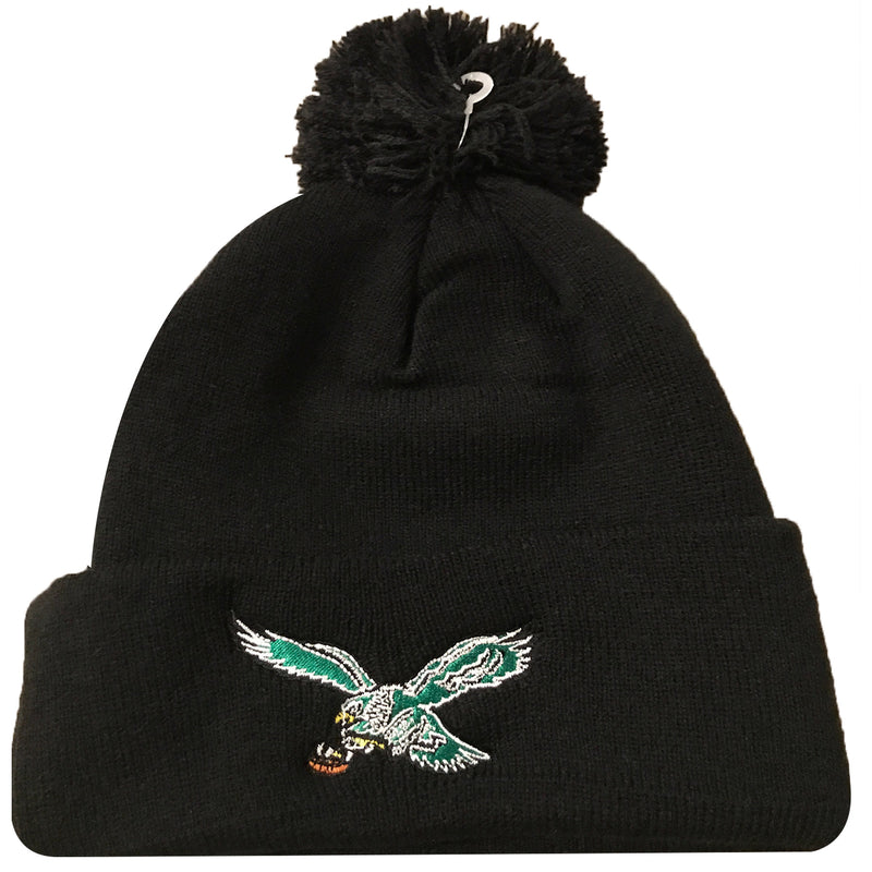 on the front of the Philadelphia Eagles vintage bird logo beanie is the retro Philadelphia Eagles beanie embroidered in kelly green, white, yellow and brown