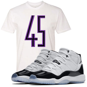 Match your pair of Jordan 11 Concord 45 sneakers with this Concord 11 sneaker matching white t-shirt