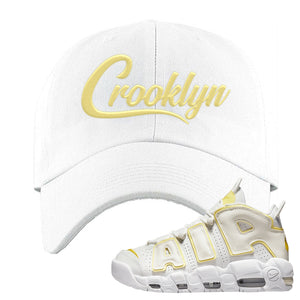 Air More Uptempo Light Citron Dad Hat | Crooklyn, White