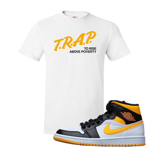 Air Jordan 1 Mid Varsity Yellow Black T Shirt | White, Trap To Rise Above Poverty