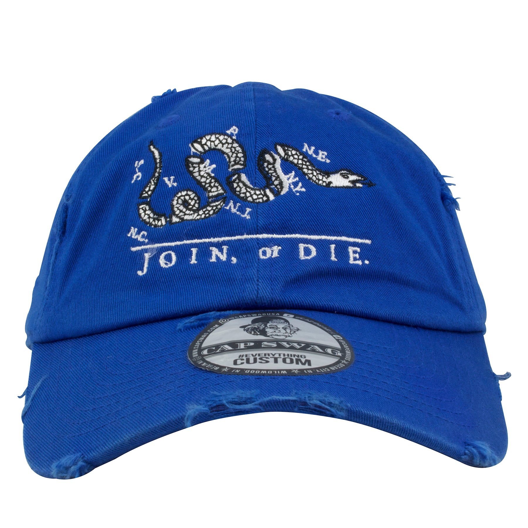 Embroidered on the front of the Philadelphia Join or Die blue distressed  dad hat is the 5a22f834a9c2
