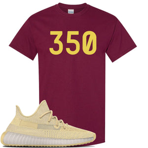 Yeezy Boost 350 V2 Flax Sneaker Maroon T Shirt | Tees to match Adidas Yeezy Boost 350 V2 Flax Shoes | 350
