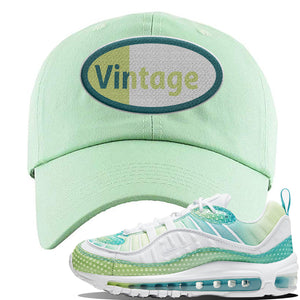 WMNS Air Max 98 Bubble Pack Sneaker Sage Green Dad Hat | Hat to match Nike WMNS Air Max 98 Bubble Pack Shoes | Vintage Oval