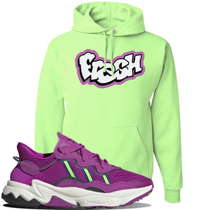 Ozweego Vivid Pink Sneaker Neon Green Pullover Hoodie | Hoodie to match Adidas Ozweego Vivid Pink Shoes | Fresh Princess of Bel Air