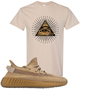 Yeezy Boost 350 V2 Earth Sneaker T-Shirt To Match | All Seeing Eye, Sandstone