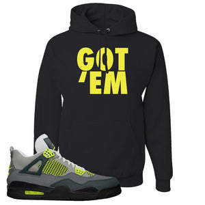 Jordan 4 Neon Sneaker Black Pullover Hoodie | Hoodie to match Nike Air Jordan 4 Neon Shoes | Got Em